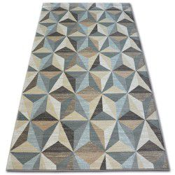 Килим ARGENT - W6096 триъгълници бежов / син