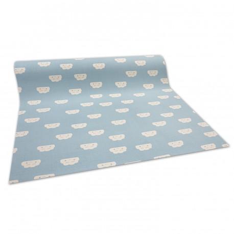 противоплъзгаща основа мокети килим за деца ОБЛАЦИ синьо