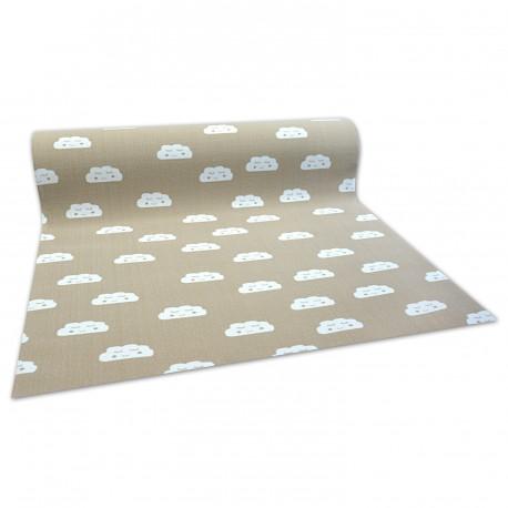 противоплъзгаща основа мокети килим за деца ОБЛАЦИ бежово