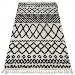 Килим BERBER SAFI N9040 бяло/черно шаги ресни