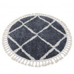 Килим BERBER CROSS B5950 кръг бяло/сиво шаги ресни