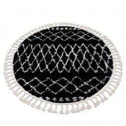 Килим BERBER ETHNIC G3802 кръг черно/бяло ресни шаги