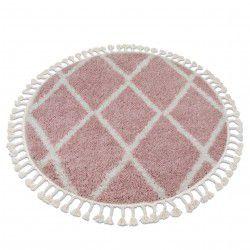 Килим BERBER TROIK A0010 кръг розово/бяло шаги ресни