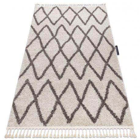 Килим BERBER BENI берберски, марокански ресни екрю/сиво шаги
