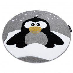 Килим PETIT PENGUIN пингвин сняг кръг сиво