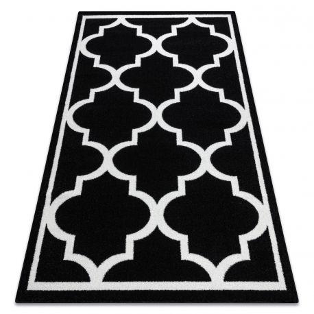 Килим SKETCH – F730 черно/бяло мароканска детелина