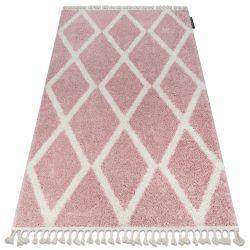 Килим BERBER TROIK A0010 розово/бяло шаги ресни