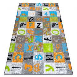 мокети килим за деца JUMPY Пачуърк, Писма, Числа сив / оранжев / син