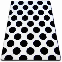 Килим SKETCH – F761 бяло/черно – кръгове